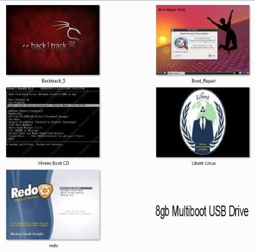 8GB Multiboot USB Flash Drive, Hiren's Boot CD, Backtrack, Liberte Anonymous Browsing, Redo Backup, Boot Repair