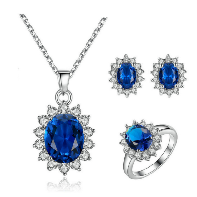 Kate's wedding party Blue Zircon Necklace Earrings explosion bride jewelry set of cross-border electricity supplier