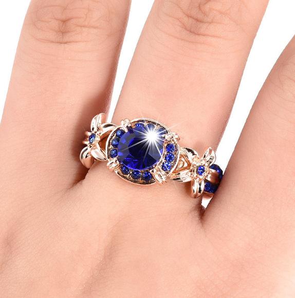 Female Sapphire Rose Gold Diamond Engagement Ring Rings Jewelry Flower Ring
