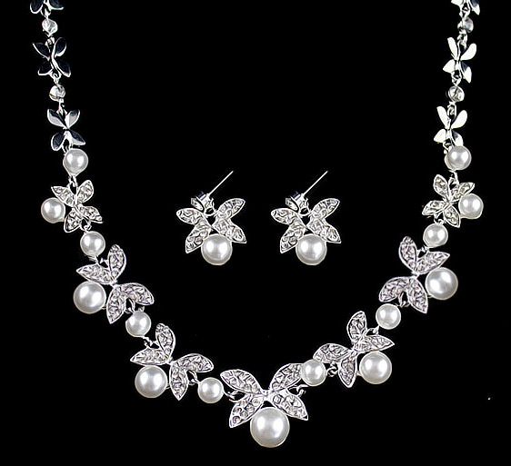 B0879 bride wedding jewelry accessories wholesale fashion diamond pearl necklace earrings set leaves the atmosphere