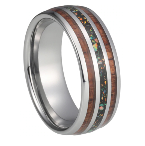 Tungsten 8MM wedding bands for men and women with blue opal / Multicolor Koa wood opal inlaid polished dome
