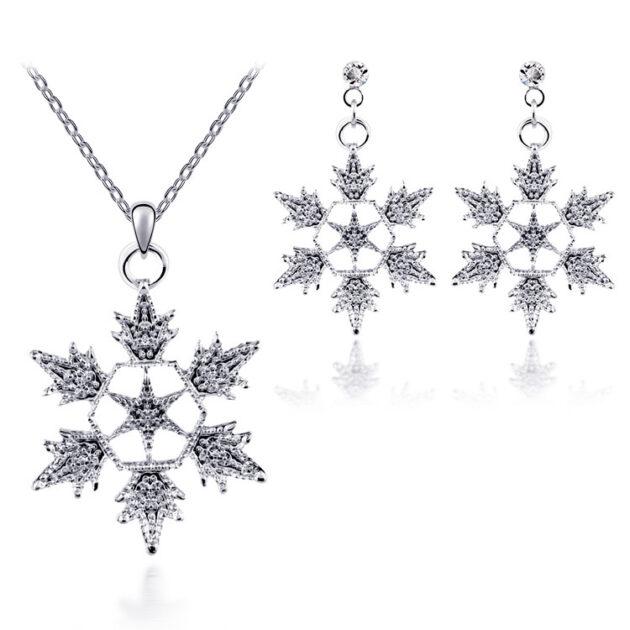 Exquisite bridal christmas snowflake necklace, earring set, wedding jewelry, wedding dress, jewelry 4590