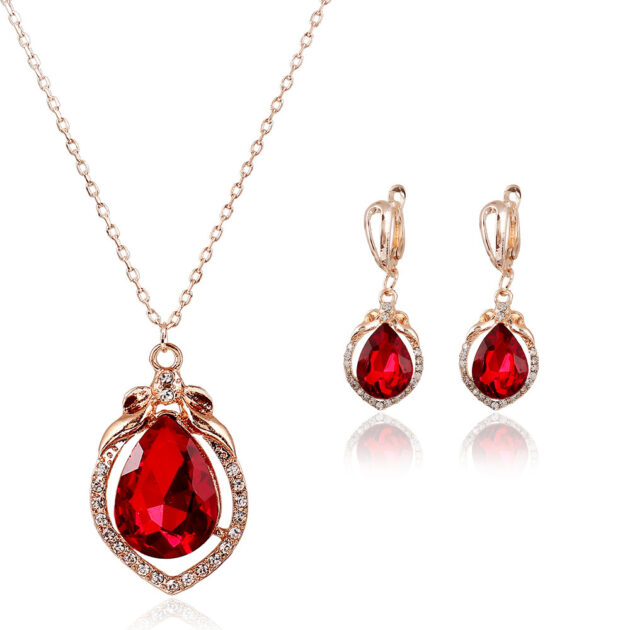 Korean Crystal Necklace Earrings Jewelry Set of cross-border electricity supplier explosion of two sets of independent packaging bride