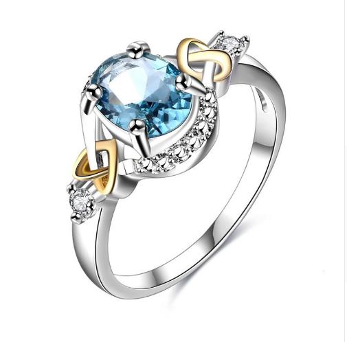 Hochzeit Ringe für Frauen 100% Sterling 925 Silber Damen Edlen Schmuck Blue Oval Ring Braut Verlobungsfeier Bijoux Femme R542