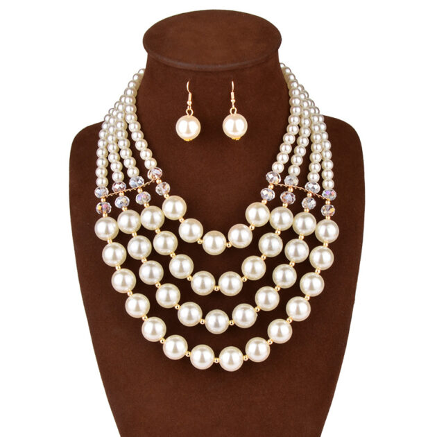 Europe necklace crystal pearl Long Necklace Earrings female bride jewelry set accessories
