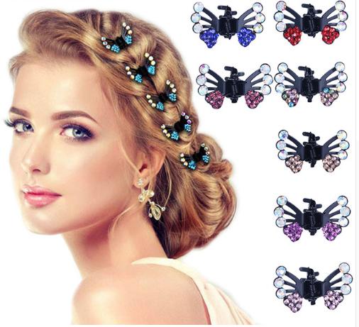 Plate hair style clips small inlaid rhinestone butterfly flower hair clip hair clip headwear