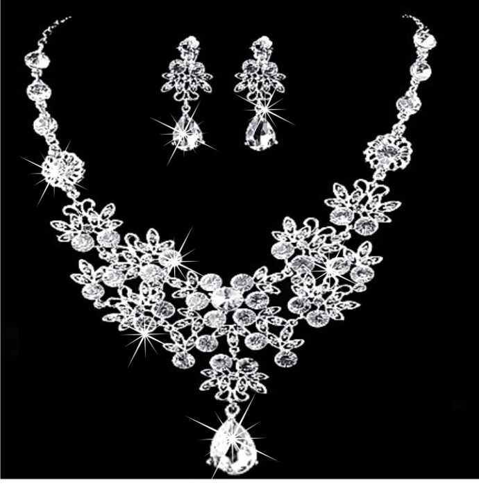 Europe and the United States sell high-end Wedding Necklace necklace, zircon crystal necklace earrings two sets of factory direct sales