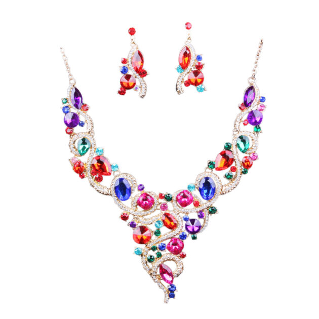 Aliexpress explosion of Europe color diamond necklace earrings set exaggerated bride fashion jewelry