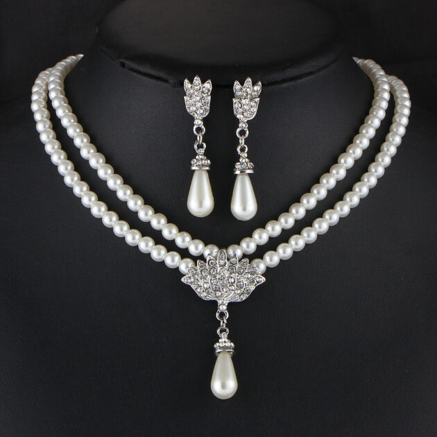 Europe and the United States foreign trade items jewelry pearl crystal diamond bride short clavicle neck Necklace Set Earrings Korean temperament