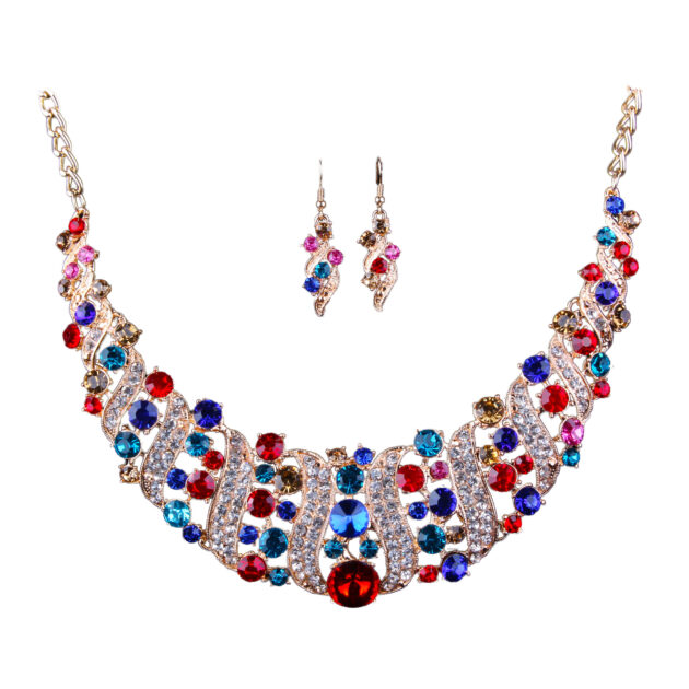 Foreign trade exaggeration Africa, Middle East, Europe and America color bride Necklace Earrings Set alloy color plating