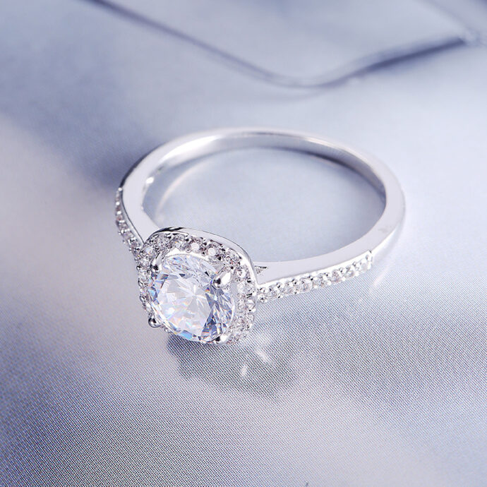 Wedding Rings for Women Silver Color Jewelry Luxury Rings Engagement Square Bague Cubic Zirconia