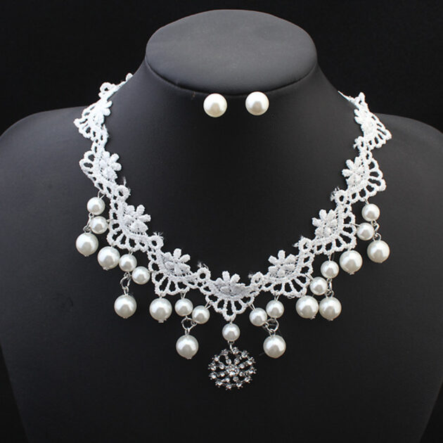 European fashion elegant jewelry bride wedding accessories necklace pearl necklace set of high-end super cost-effective package