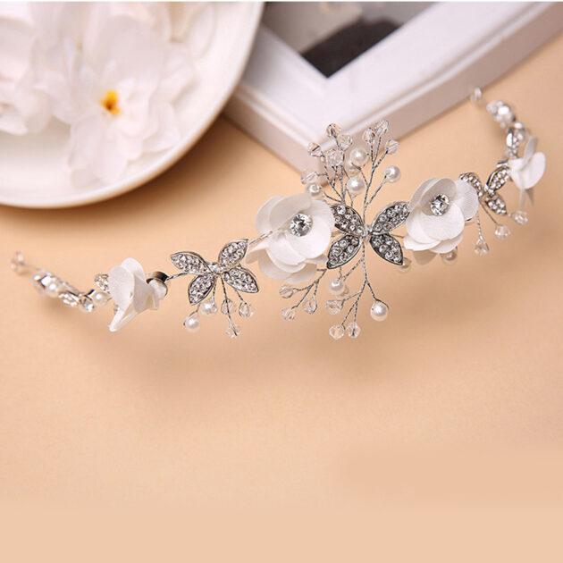 Korean Korean bride wedding style fabric flowers butterfly diamond alloy hoop hair band hair headdress