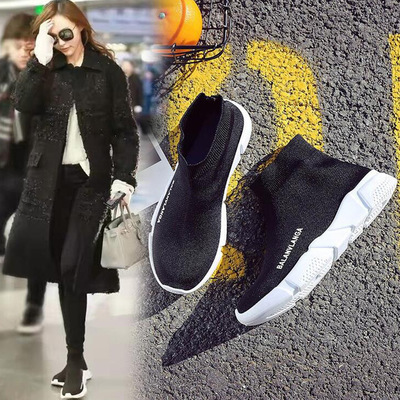 Stretch socks shoes female Korean spring tide all-match black casual Sneakers Shoeshigh thick soles