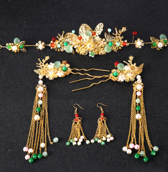 Wedding show Wo clothing accessories accessories Chinese bride headdress costume Coronet bride hair hairpin four piece
