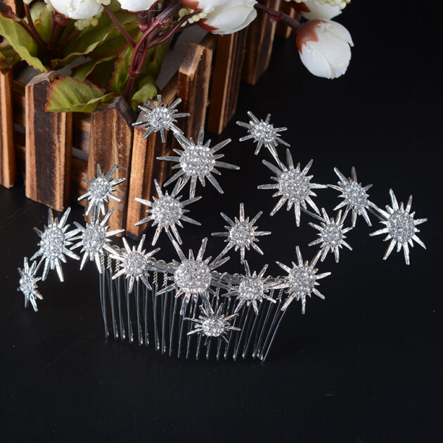 FS149 Korean sweet Bride Wedding Hair headdress alloy diamond wedding dress comb comb small sun
