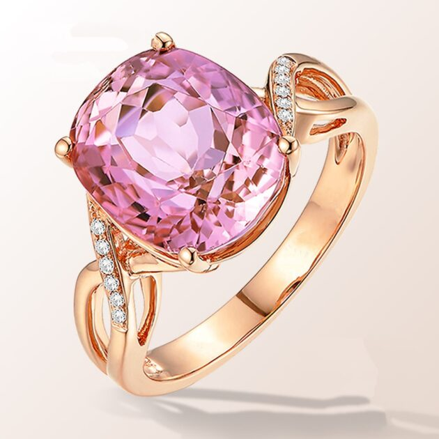 Zhen Rong, a natural pink tourmaline ring, the European and American fashion engagement ring female powder crystal inlay zircon ring