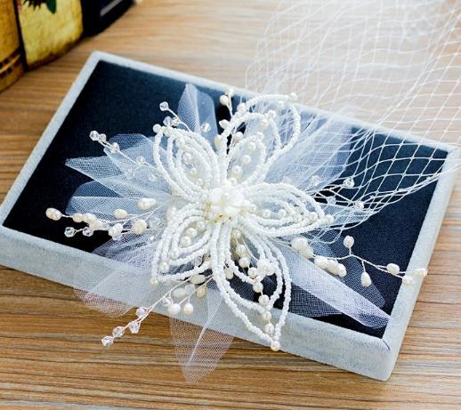 Korean wedding bride headdress white hand hairpin sianmei super fairy flower hair accessories simple Fuqin