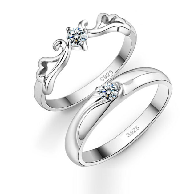 Korean Silver Angel lovers ring marriage engagement silver men and women wholesale ring manufacturer