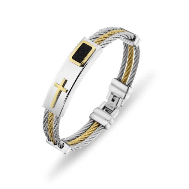 Men's Bracelet 3 Rows Wire Chain Bracelets Bangles Fashion Punk Stainless Steel Cross Bracelet Men Christian Men Jewelry