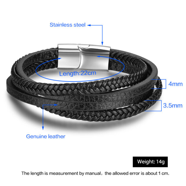 Bracelets & Bangles Men Stainless Steel Leather Bracelets Braided Rope Magnetic Clasp Male Bangles Jewelry 2020 New