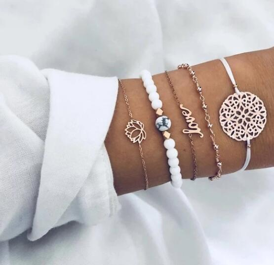 Vintage Turtle Heart Map Charm Bracelets Set For Women 2 New Design Stone Beads Infinite Bracelet Boho Jewelry Wholesale