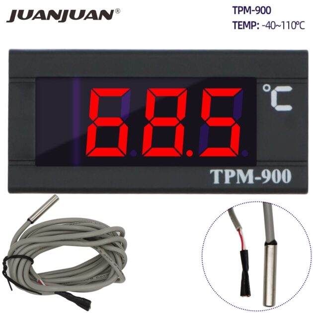 TPM-900 Digital Temperature Controller AC 220V LED Panel Meter with Sensor Thermostat Controller with NTC Thermister 30% off