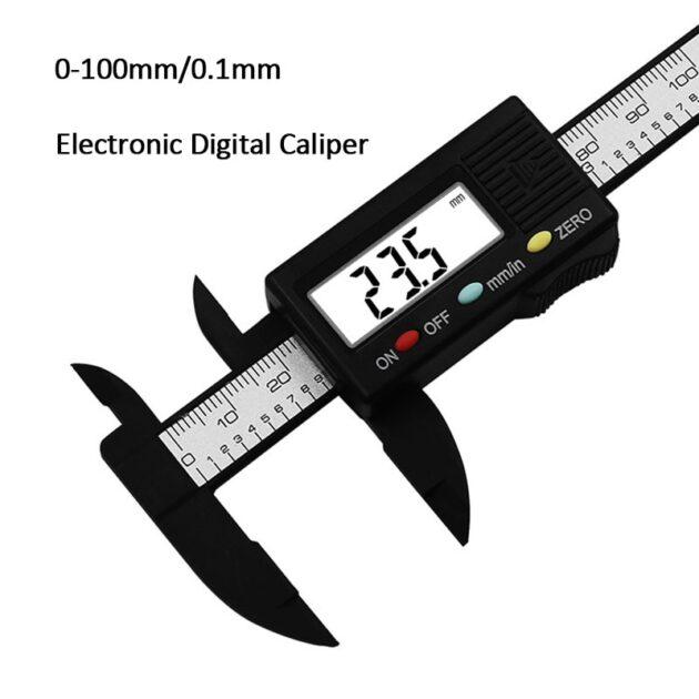LCD Digital Caliper 100mm 0.1mm Carbon Fiber Vernier Caliper Calliper Micrometer Digital Ruler Measuring Tool Carbon Fiber Ruler