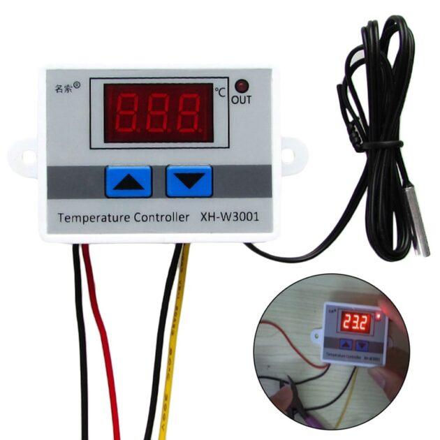 220V 1500W Digital LED Temperature Controller Max 10A Thermostat Control Switch Probe 50-100 Degree