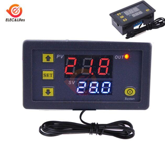 W3230 Temperature Controller Thermostat Dual LED Digital Temperature Regulator Detector AC 220V DC 12V temp meter heat cooler