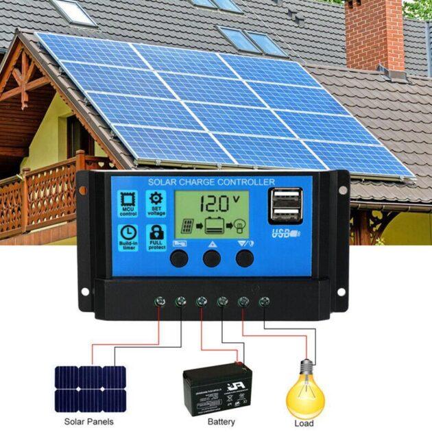 10A/20A/A30A/40A/50A/60A Solar Charge Controller Auto Solar Controller Display Dual 12V/24V LCD Charge Solar Panel Smart US S8J4