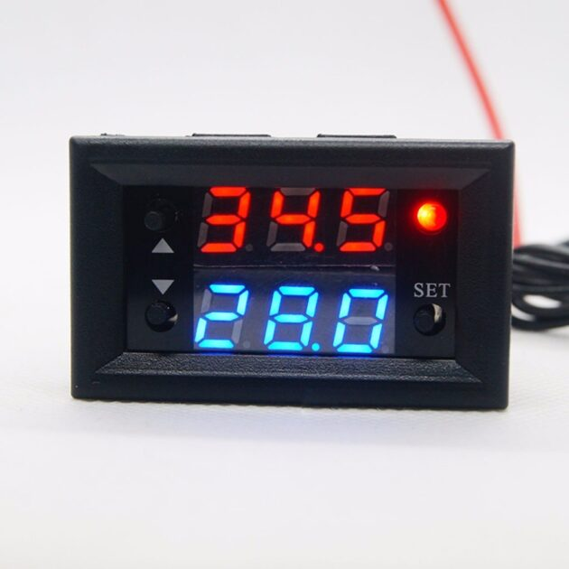 W2810 DC 12V 20A Digital Thermostat Temperature Controller Red Display with Probe
