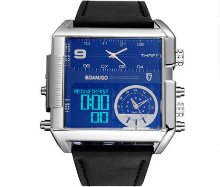 Men Sports Watches Man Military chronograph digital Watch Leather Rectangle Quartz Wristwatches
