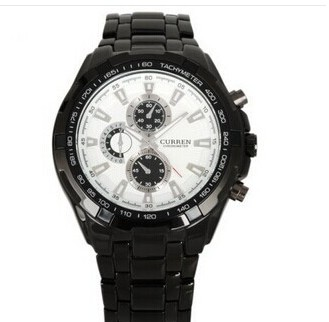 Fashion alloy steel watch band men's watch fake three eyes six pin male business table