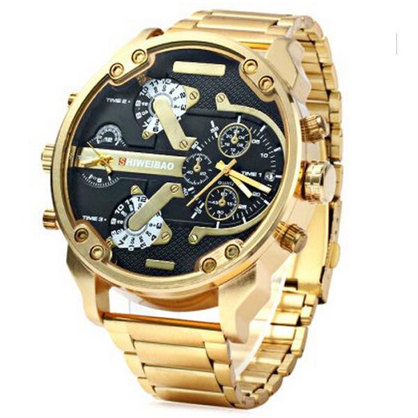 SHIWEIBAO steel belt watch, men's big size dial, two time zone steel belt sports waterproof quartz watch
