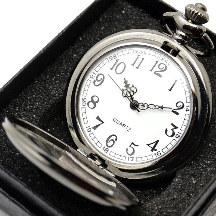 retro black fashion silver smooth steampunk quartz pocket watch stainless steel chain necklace 30 cm for men for women with gift box