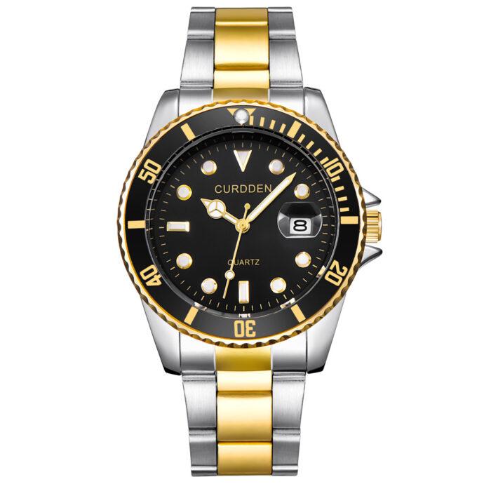 Fashion steel band calendar quartz watch