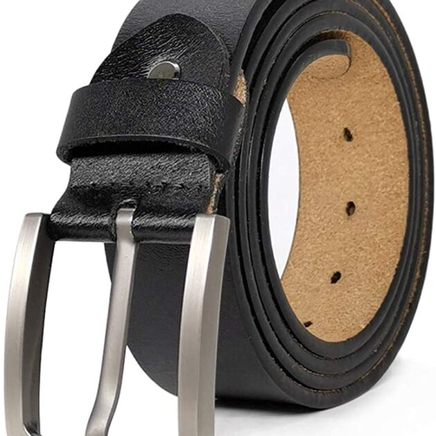JingHao Mens Belts Big and Tall Genuine Leather Casual Belt for Jeans Dress