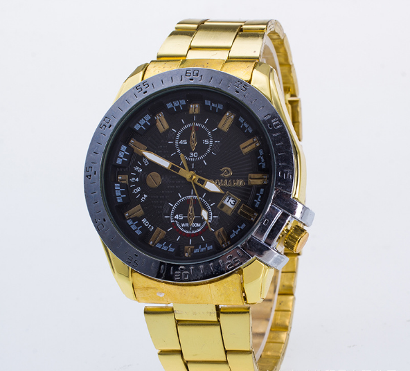 High grade fashionable steel belt, men's sports quartz watch, calendar, false three eye dial, foreign trade popular Watch
