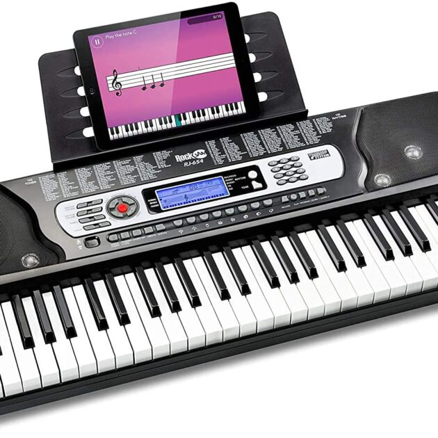 RockJam RJ361 61 Key Keyboard Piano with Sheet Music Stand Piano Note Sticker Power Supply and Simply Piano Application