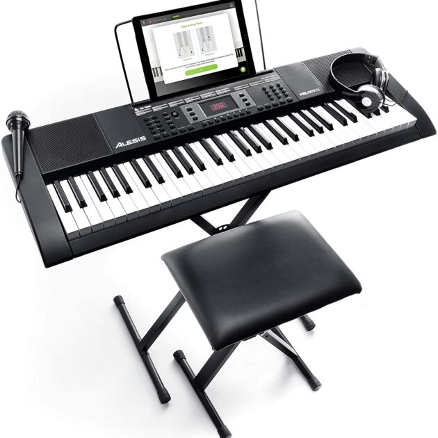 Alesis Melody 54 - Electric Keyboard Piano with 54 Keys, Speakers, 300 Sounds, 300 Rhythms, 40 Demo Songs, Powerful Educational Tools and Microphone