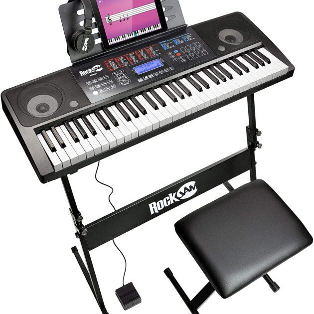 RockJam RJ761-SK 61 Keyboard Piano Kit 61 Key Digital Piano Keyboard Bench Keyboard Stand Headphones Sustain Pedal and Simply Piano Application