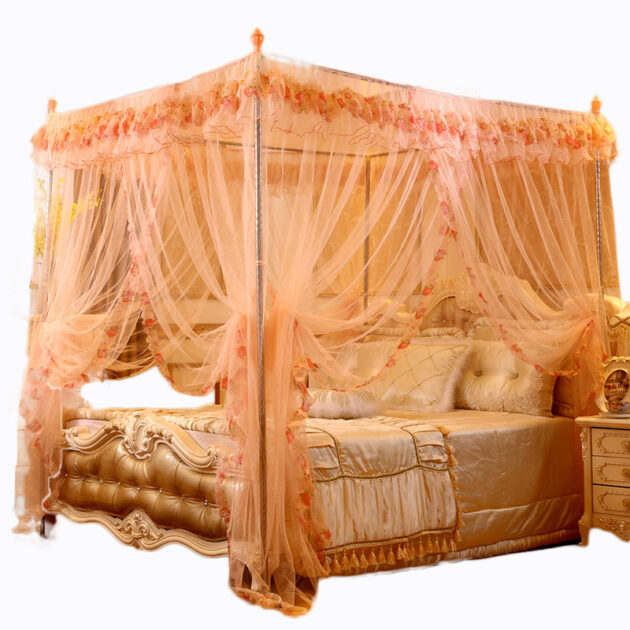 Hot Beautiful Elegant Free Standing Strong Lace Double Bed Comfortable Home Bed Mosquito Net