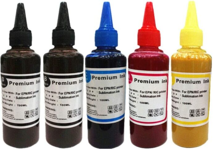 5PK Sublimation Ink for Epson and Ricoh Printers - (500ML, 100ML of BKCMY) Heat Press Ink, Heat Press- Compatible Ink Heat Transfer on Mugs, Plates, Polyester Shirts, Phone Cases Crafts keyrings